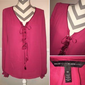 WHBM | lace up lattice shoulder dress top
